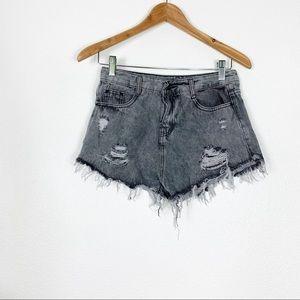 Distress Cut Off Jeans Short